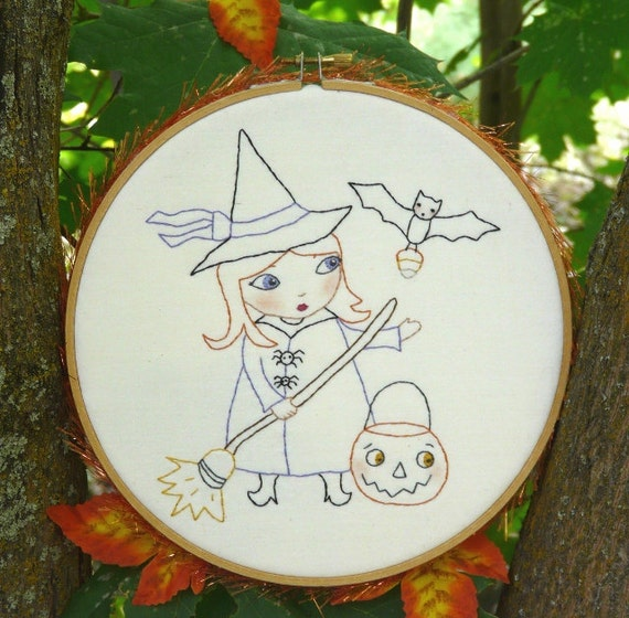Halloween WITCH bewitched embroidery PDF Pattern - hoop trick or treat pumpkin bat stitchery broom candy corn