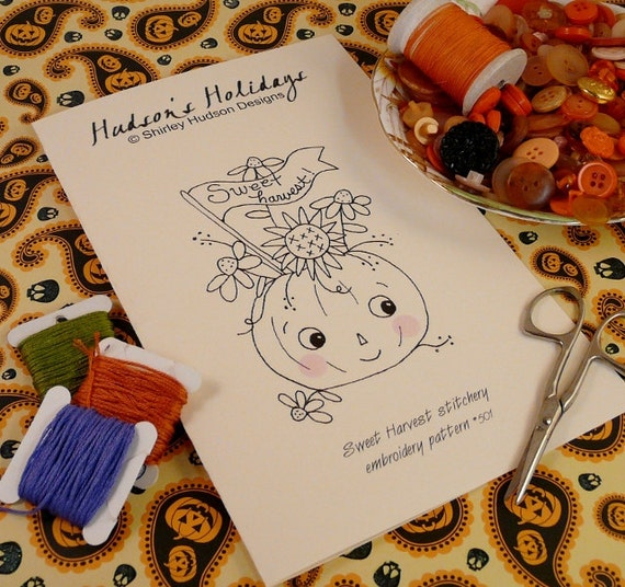 Halloween Sweet Harvest pumpkin embroidery Pattern - PDF stitchery banner primitive