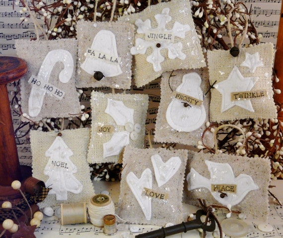 French Country burlap Christmas ornaments PDF Pattern - prim ornie tweed wool felt fabric scraps shabby chic primitive