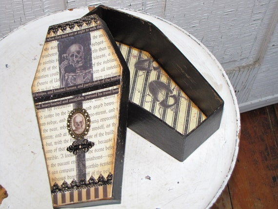 LARGE Vintage Gothic Paper Mache Coffin Box Vampire Dracula Victorian Steampunk Skull