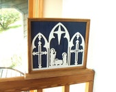 Vintage Hand Crafted Painted Wood Nativity 3D Silhouette