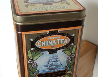 vintage Golden Clipper Tea Tin