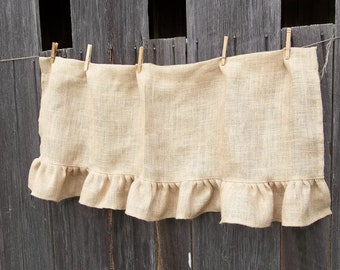 Ruffled Burlap Curtain Custom Sizes Farmhouse Kitchen Valance Window Treatment Burlap Panel Rustic Curtain French Country Made to Order
