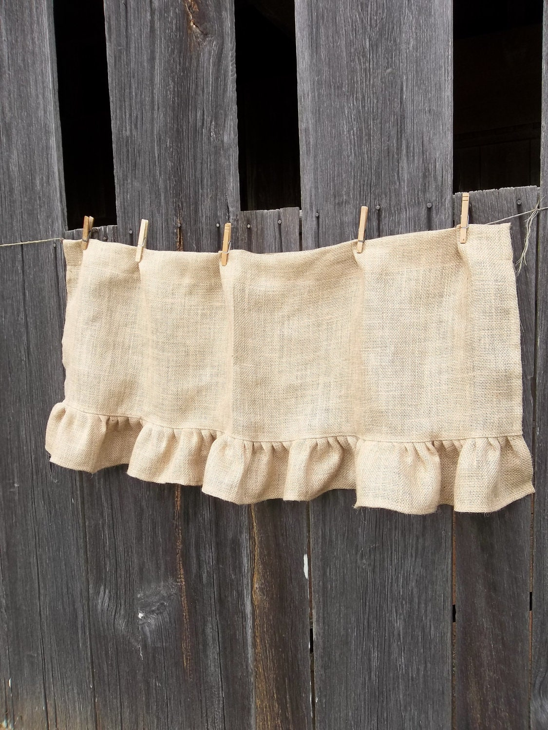 Burlap Valances For Windows : Ruffled burlap curtain custom sizes farmhouse kitchen valance