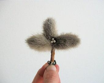 Vintage Fur Clover Brooch.