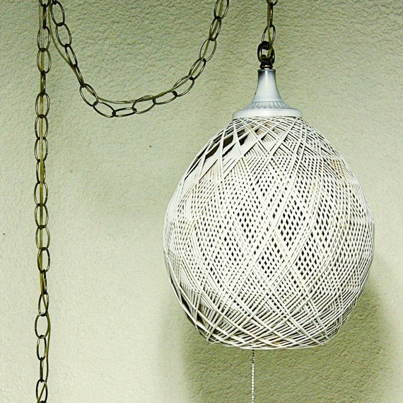 Hanging Lamp With Pull Chain: Vintage Hanging Light Hanging Lamp Wicker Rattan Egg