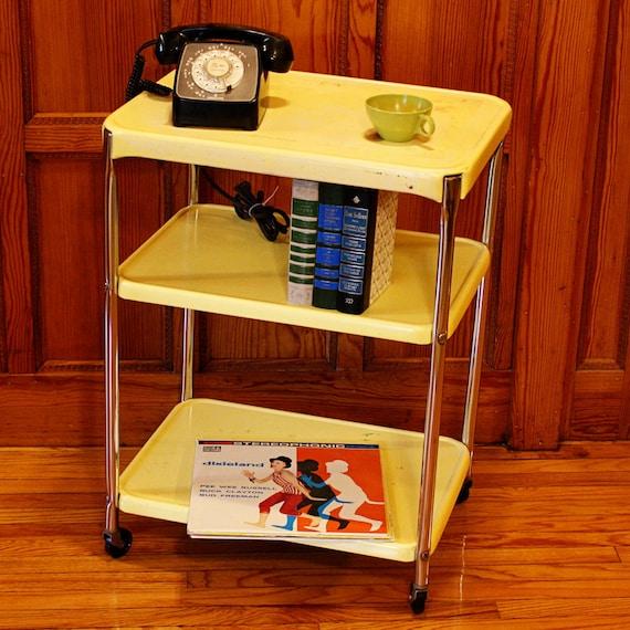 vintage metal cart serving cart kitchen cart cosco yellow