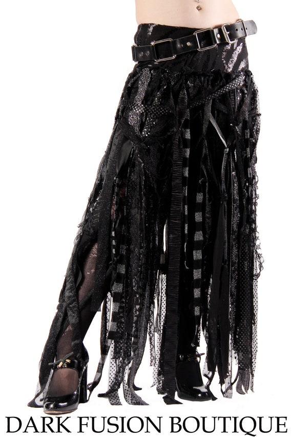 Skirt, Black, Gray, and Silver,  Stripes, Cabaret, Vaudeville, Steampunk, Vampire, Noir, Gothic, Witchy, Black Rock, Dance