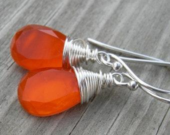 Orange Topaz Mother of Pearl Doublet Briolette Sterling Silver Earrings