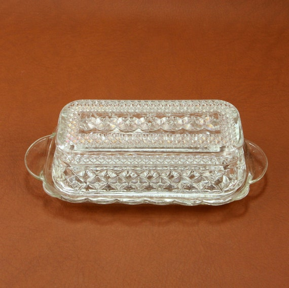 Anchor Hocking Glass Wexford Covered Butter Dish Vtg