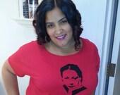 T-shirt, Julia de Burgos, Puerto Rican Poet, Feminist,  2X, XX-LARGE, Scoop Neck, RED