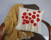 Red Poppy Wool Felt Pillow