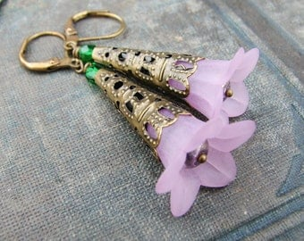Pink Flower Earrings with Brass Filigree with Green Crystal Beads