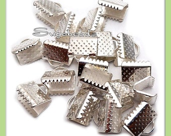 40 Silver Plated Ribbon End Crimps 10mm