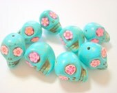 Turquoise and Pink Howlite Sugar Skull Beads-Collection of 8 18mm Beads
