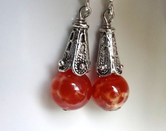 Orange Earrings, Agate Earrings, Dragon Vein Earrings
