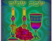 Shabbat Shalom Ceramic Tile Coaster and Trivet  FREE SHIPPING