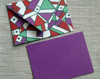 Christmas Card Holiday Greeting Solid Purple Note Card with Patterned Envelope in Red Purple Green