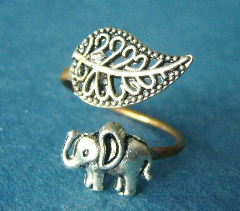 silver elephant ring with a leaf wrap ring adjustable ring