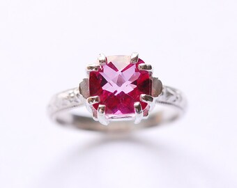 Silver Pink Topaz Gemstone Ring (Eight Prong) In Your Size
