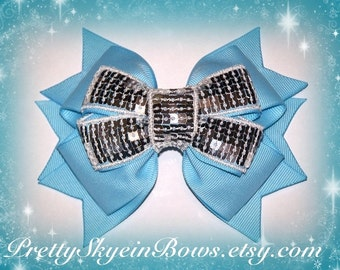 Layered Boutique Hair Bow Clip in Light Blue and Silver Sequin