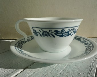 Old Towne blue Corelle cup and saucer set  1970s corningware