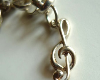 sterling silver charm G clef music