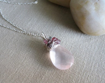 Rose Quartz Necklace Multi Color Spinel Sterling Silver Wire Wrapped Feminine Fashion Jewelry - Confetti