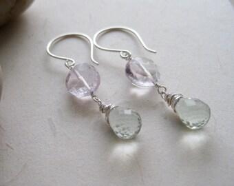 Amethyst Prasiolite Earrings Sterling Silver Pink Amethyst February Birthstone Lilac Lavender - Lucidity