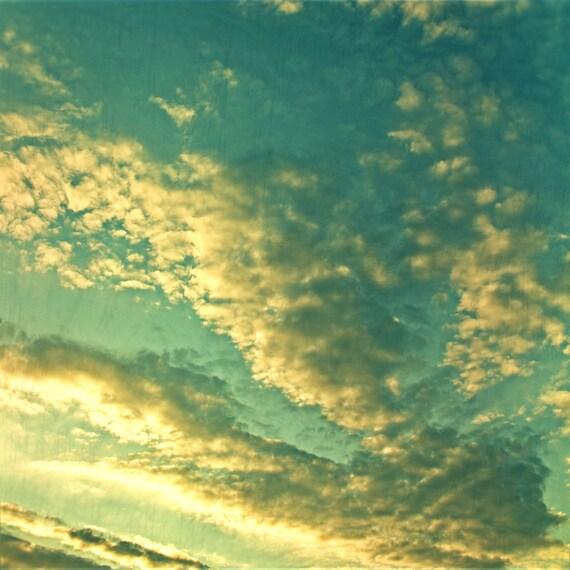 Sunset photography, cloud print, home decor, sky photo, summer sky, puffy clouds, green bathroom, turquoise photo, surreal, dreamy skye