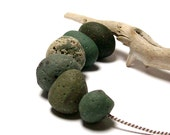 "Drilled Frankfort Sea Glass - Stones Beach Balls Glass Pebbles - Authentic Leland Slag - ""Big Green Balls"" by StoneMe"