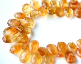 Madeira Citrine Faceted Pear Briolette Beads   4