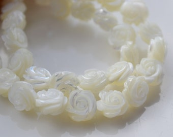 Small Mother of Pearl Carved Rose Beads  6
