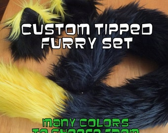 Cosplay Cat ears and Cat tail- CuStoM CoLoRS-Anime, Cosplay, Furry, Fantasy, Burning Man