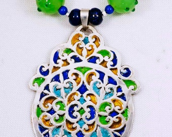 Moroccan Silver and Enamel w/ Afghan & Nepalese Beads