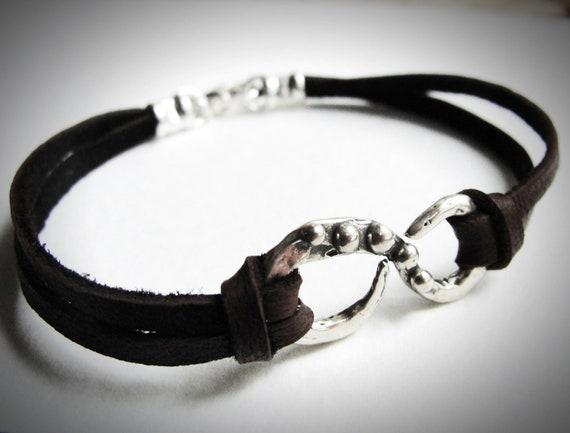 Sterling Infinity Bracelet on Leather bracelet Boho Jewelry