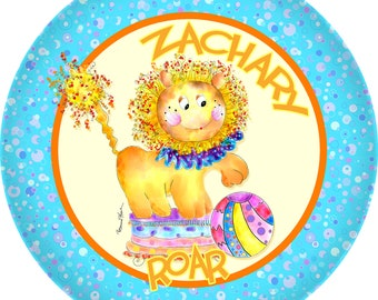 Personalized dinnerware Lion Plate Birthday, Baby Shower  Baby and Toddler Meet Mc Lion by Rosanna Hope For Baby Bonbons