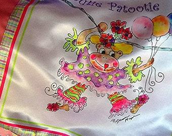 Madeleine the Circus Monkey MINI MIMI Luurious silky baby blanket by Rosanna Hope for Baby Bon Bons