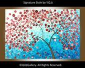 """Original Abstract Tree Painting Heavy Texture Impasto Acrylic Tree Leaves """" Red Tree"""" by QIQIGALLERY"""
