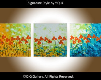 """Sale-Nursery wall art Textured Impasto Palette Knife canvas art painting on canvas """"Happy Time"""" by QIQIGALLERY"""
