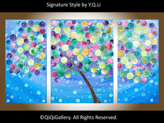 "42"" Original Abstract painting Heavy Texture Impasto art on Canvas Tree Branches Wall Decor ""Wishing Tree"" by QIQIGALLERY"