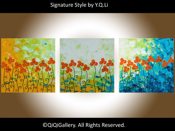"Orange flowers painting wall art wall decor Textured Impasto Palette Knife canvas art canvas painting wall art ""Happy Time"" by QIQIGALLERY"