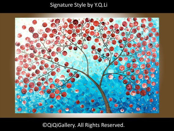 "Original Abstract Tree Painting Heavy Texture Impasto Acrylic Tree Leaves "" Red Tree"" by QIQIGALLERY"