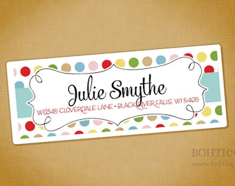 Personalized Return Address Label Sticker - Dots and Curls