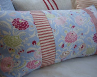 French CoTTage  Blue PiLLow, 24x12, Red FlowERs, Shabby Chic, Ticking, Gingham, Baby, Lumbar Throw Pillow,