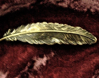 Feather Antiqued Brass Barrette