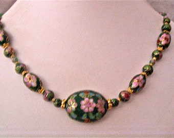 Cloisonne, Candy Jade and Gold Beaded Necklace