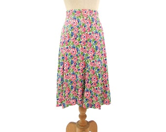Vintage Flare Skirt A Line Gore Floral Print Blue Pink Green NOS XS