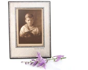 Antique Vintage Photograph Sepia Boy In Sailor Suit Framed