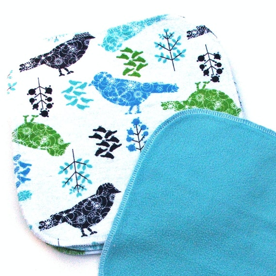 Baby Cloth Wipes 8 by 8 inch Serged Cloth Wipes/Washcloths - Swallows - Flannel/Microfleece- set of 5